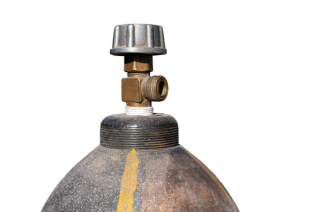Gas cylinder on white isolated background close-up.construction equipment and tools Standard-Bild - 120192319