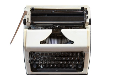 Old typewriter on white isolated background. retro style and Antiques. subject photography