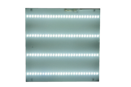 ceiling square lamp with fluorescent lamps on white isolated background