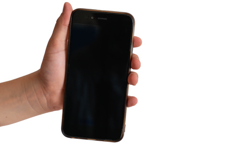Touch screen smartphone, in hand on white isolated background. equipment and devices Stock fotó