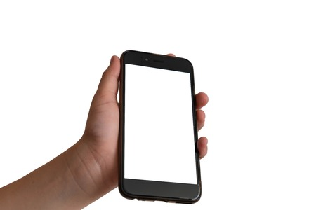 Touch screen smartphone, in hand on white isolated background. equipment and devices