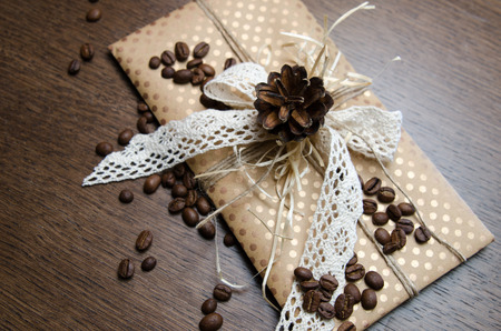 covert: Gift Covert in coffee beans Stock Photo