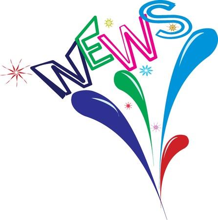 good news: Multi-colored word news against fireworks Illustration