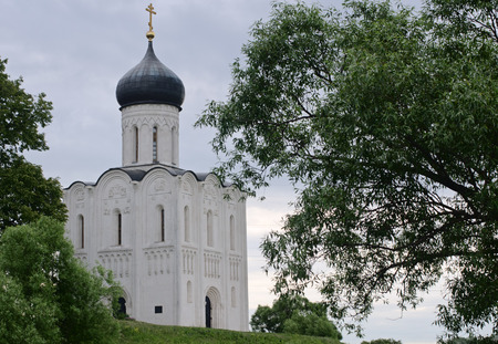 12th century: Church of the Intercession on the Nerl the 12th century photographed in the cloudy summer morning