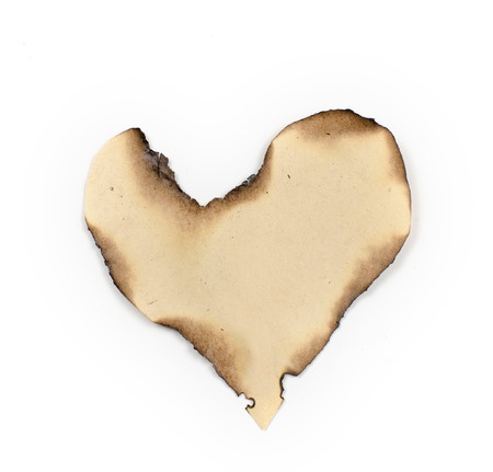 uneven edge: old, burnt on the edges of the sheet of paper. Similar shape to the heart.