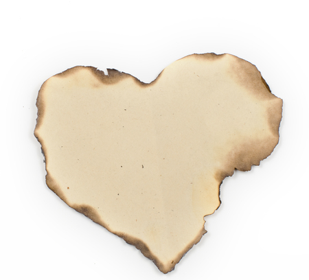 burning time: old, burnt on the edges of the sheet of paper. Similar shape to the heart.