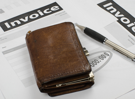 invoices: forms invoices lying on a light table