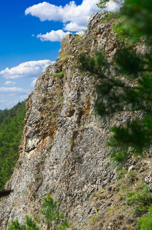 perm: Photo forty-meter cliffs near the city of Kungur in Perm area. Is called the mountain of Ermak.