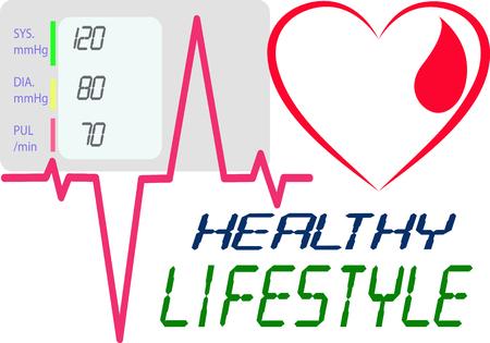 健康的なライフ スタイルを言うハートビートを描いた心線を描画します。