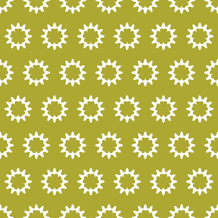 White geometric vector shapes to form a seamless pattern on gold lime color