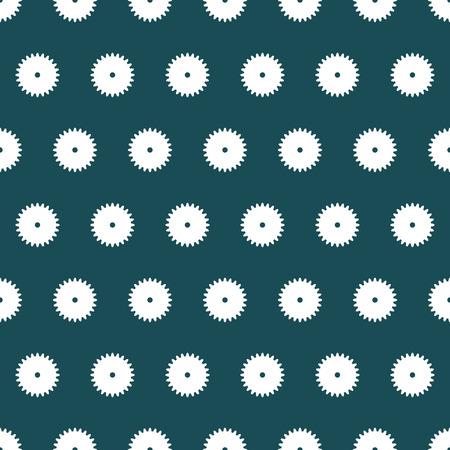 White geometric vector shapes to form a seamless pattern on dark green background