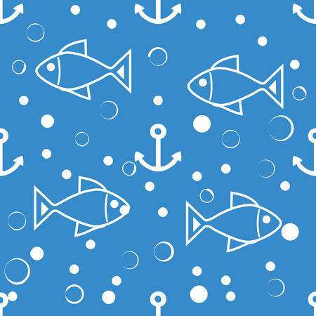seamless symmetric pattern of white fish, anchors and small bubbles on a blue background. The pattern for the ornaments, albums, backgrounds. Иллюстрация