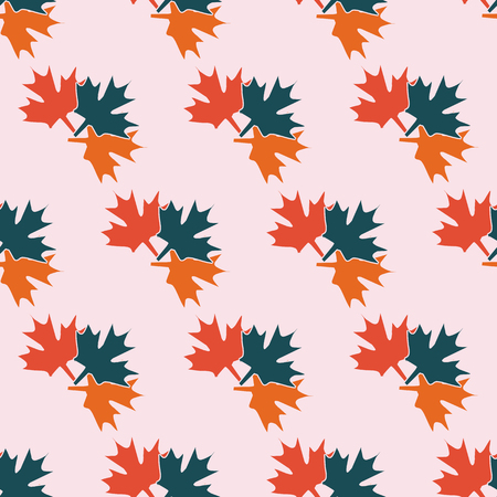 autumn background: seamless symmetrical pattern in pastel colors of maple leaves of different colors. The pattern for the ornaments, albums, backgrounds.