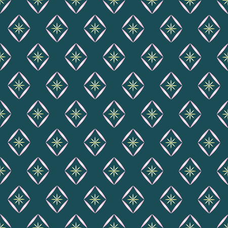 vector seamless pattern with light pink diamonds with yellow flowers inside on a dark green background. For creativity and design