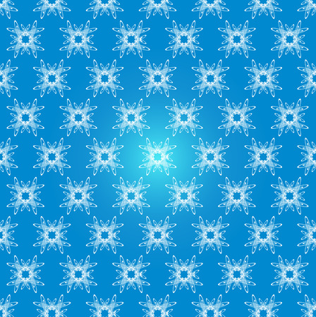 Seamless vector pattern on light blue gradient background of white snowflakes. For creativity and design.