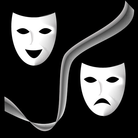 two vector white theatrical masks, with white gray ribbon on black background.