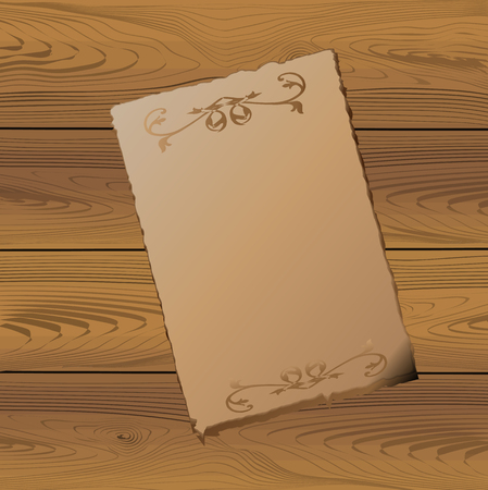old paper with darkened edges lies on a wooden textured surface. Vector image. Vettoriali