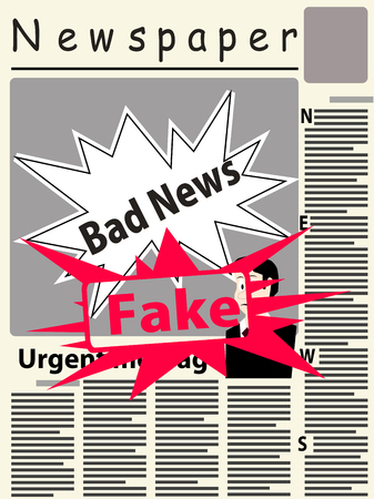 Vector image of the title page of the newspaper with newspaper breaking news. The main image on the page of the newspaper conceptually depicts bad news. Top big red stamp with word fake. Stock Illustratie
