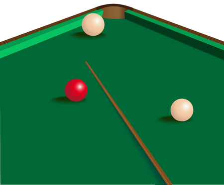 image of a green billiard table with three balls and a cue. One ball red