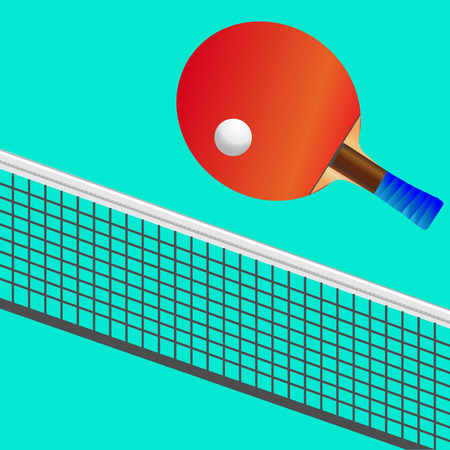 Set for playing table tennis red racket and white ball, network. Green background.