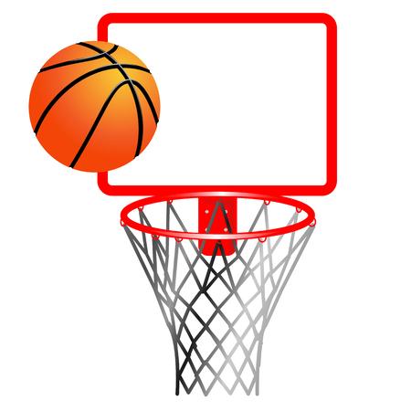 vector drawing of basketball and basketball basket with net