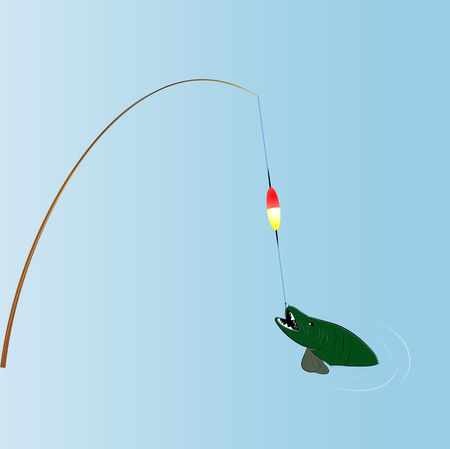 vector drawing fishing rods with fish, half protruding out of the water