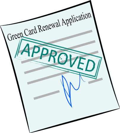 vector image of green card renewal application form with stamp approved