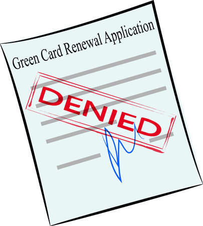 vector image of green card renewal application form with stamp denied