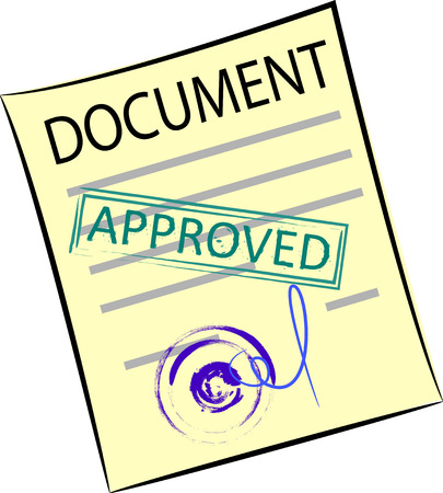 vector image of a yellow sheet of paper with a blue round stamp.