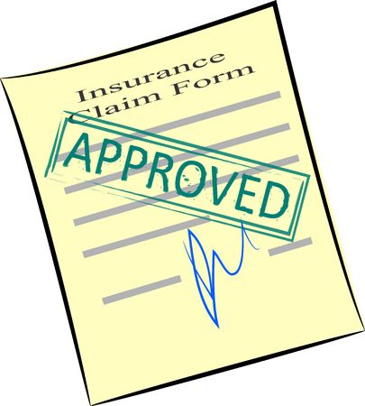 Vector image of insurance claim form with approved stamp
