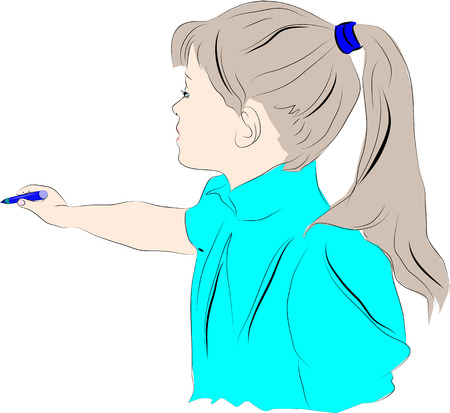 vector image of a teenage girl holding a pencil in her outstretched hand