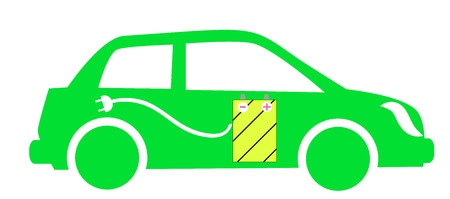 the green image of the vehicle with the battery and power cord