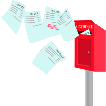 vector drawing depicts numerous bills for payment, which fly to the mailbox in red