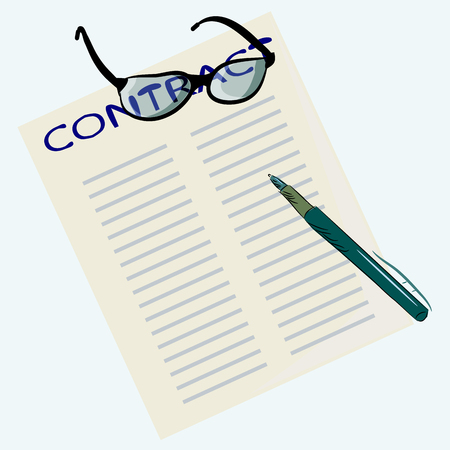 on the surface of the table is a paper contract. he's wearing glasses and a fountain pen.