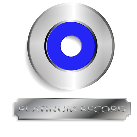vector image of platinum records with a sign that says platinum record Illustration