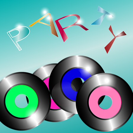 on a light green background there are several vinyl discs . Above the inscription is a party. Vector image Illusztráció