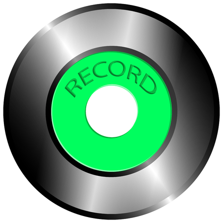 45 rpm record with a green label and record lettering. Vector image with simulated highlights