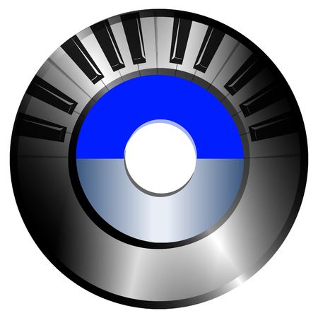 on a white background record. in the foreground is a piano keyboard. Vector image