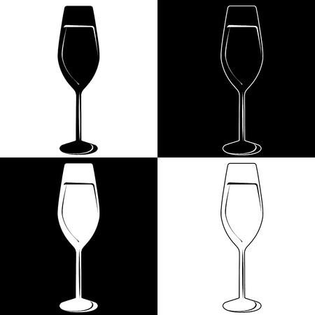 four wine glasses on a black and white background. Vector illustration for creativity and design