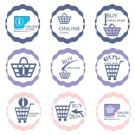 nine  color logos for online shopping