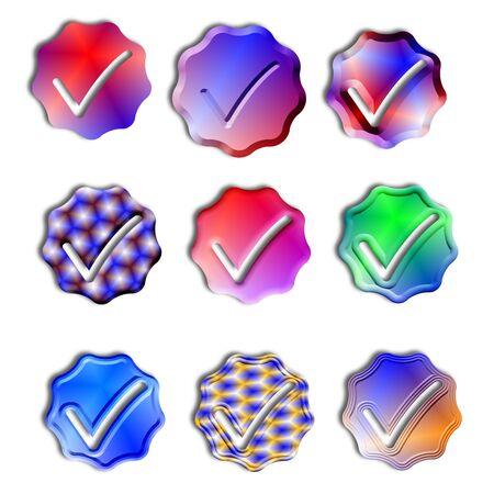 9 color different gradient color icons