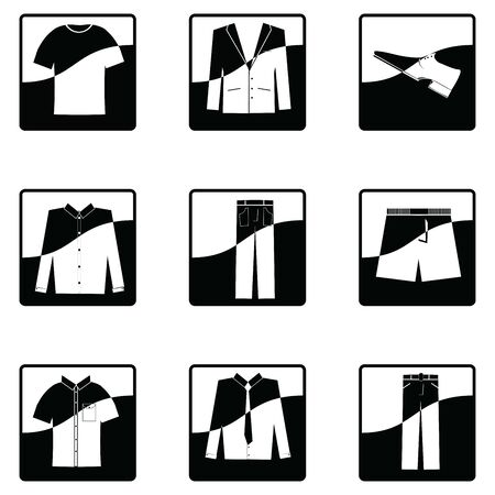 a set of nine square black and white icons of mens clothing