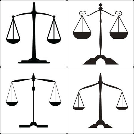 set of four icons, black and white, symbolizing the judicial system. Illustration