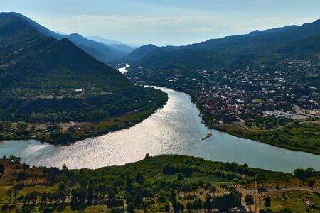 An amazing view of the confluence of the two rivers Kurra and Aragvi. Mtskheta. Reklamní fotografie