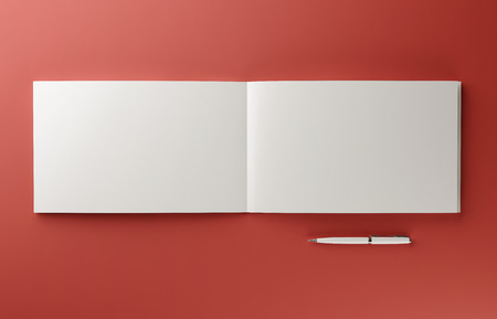 Blank photorealistic book mockup isolated on red background. Imagens