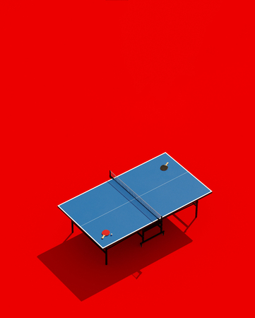 tennis table posters design. Table and rackets. 3d illustration