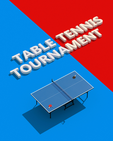 Table tennis tournament posters design. Table and rackets. 3d illustration