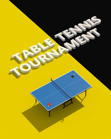 Design dei poster dei tornei di ping-pong. Tavolo e racchette per ping-pong. Illustrazione 3D