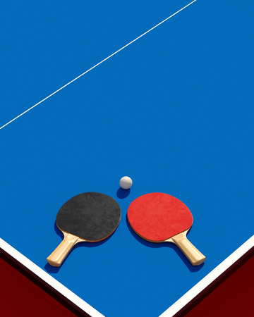 Poster Two table tennis or ping pong rackets and ball on a table with net 3d illustration Stock Photo