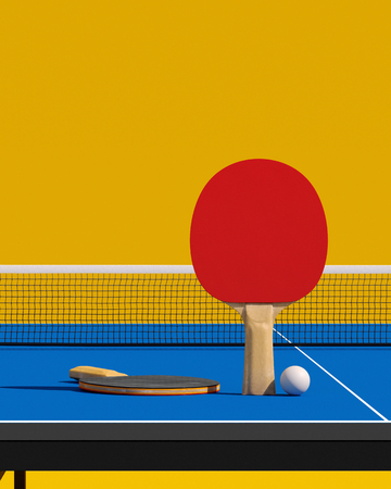 Two table tennis rackets and ball on a table with net 3d illustration Stock Photo